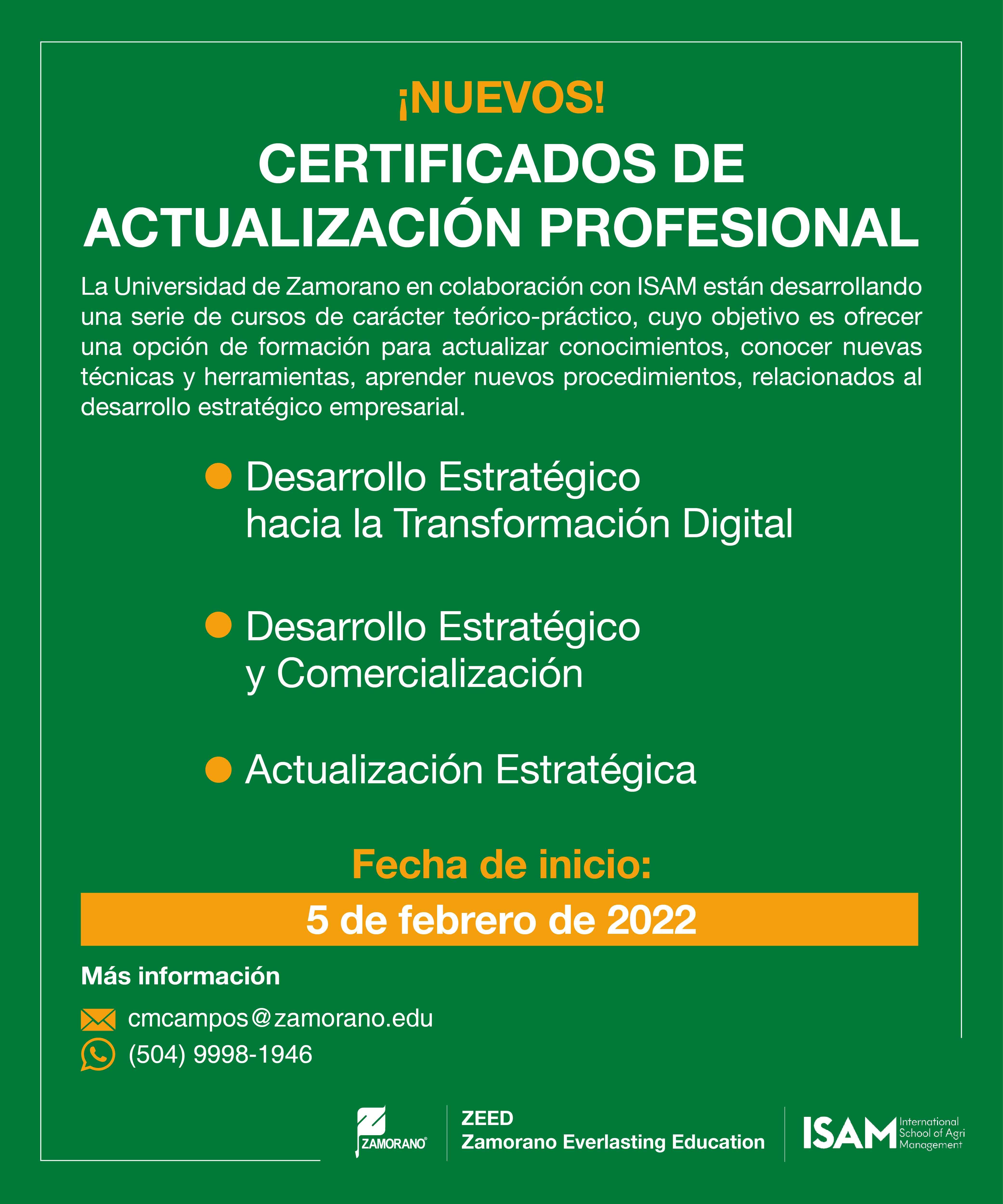 Certificado de Actualización Profesional - Zamorano ISAM-01-1