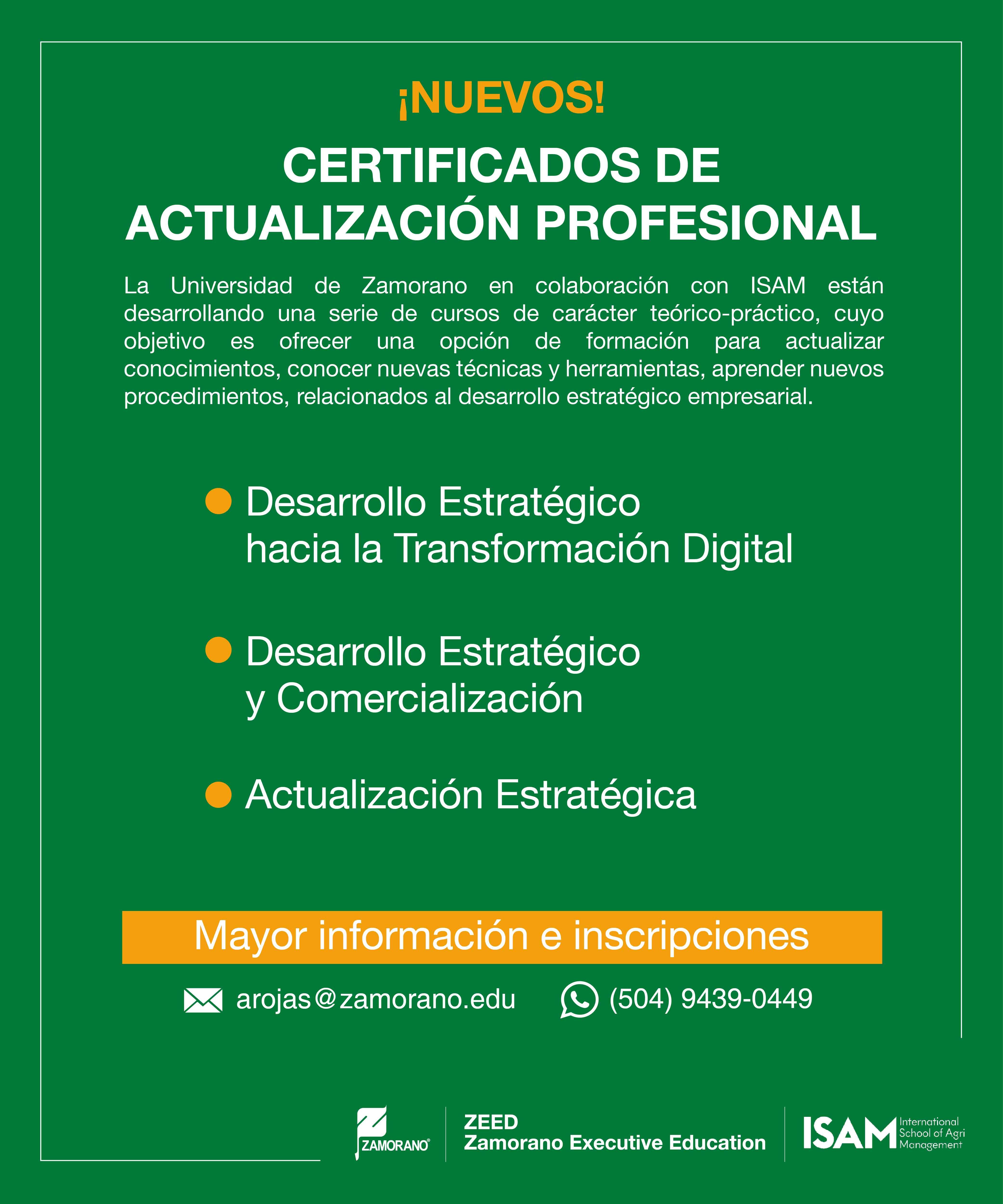 Certificado de Actualización Profesional - Zamorano ISAM-01